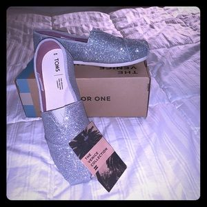 Toms Silver Iridescent Glitter Classic shoes